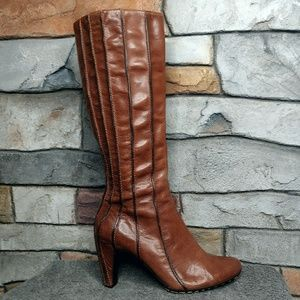 Tsubo Genuine Leather Striped Wrapped Heel Boots